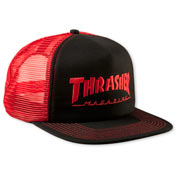 Embroidered Thrasher Logo Mesh Cap Black / Red