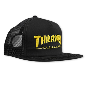 Embroidered Thrasher Logo Mesh Cap Black/Yellow