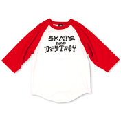Skate And Destroy Raglan (White / Red)
