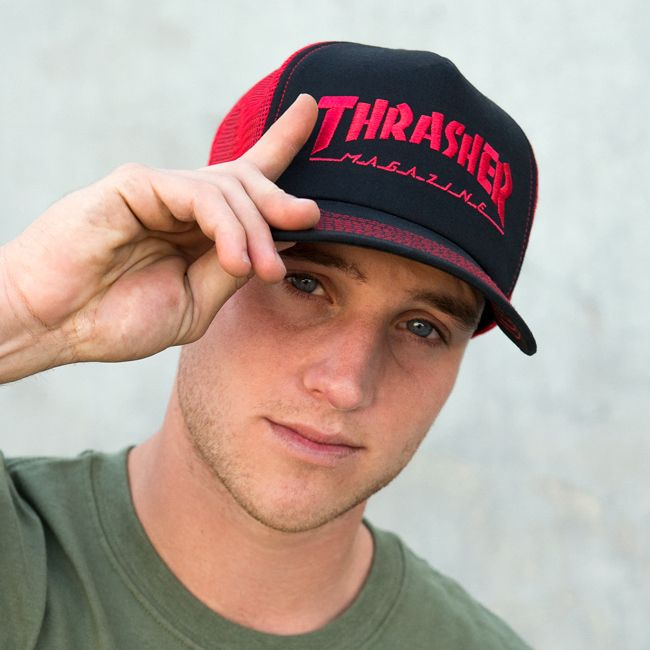1555ce663 Embroidered Thrasher Logo Mesh Cap Black / Red