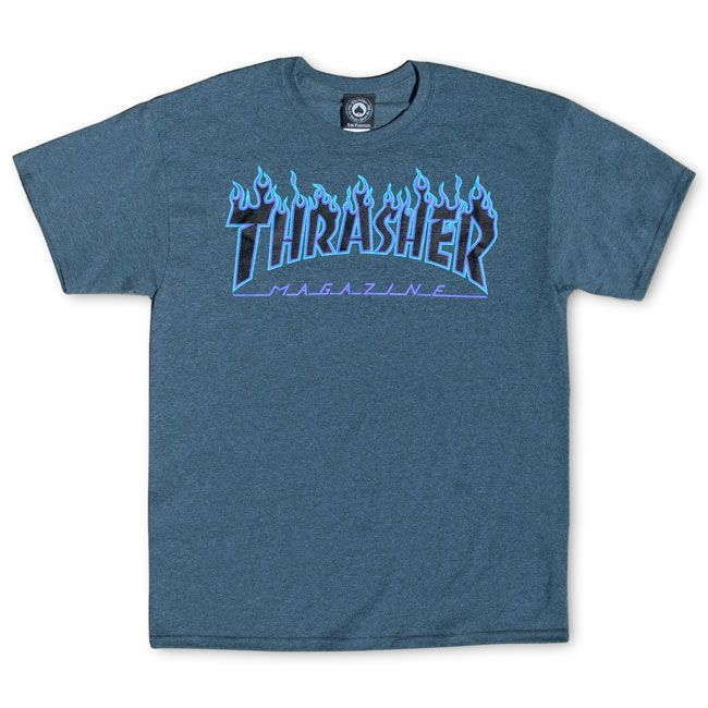 d0b61bef85ba Thrasher Magazine Shop - Dark Heather Flame Logo T-Shirt