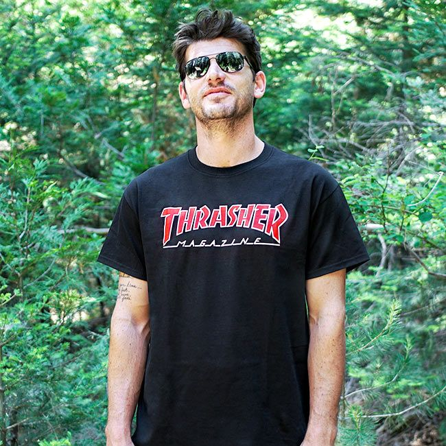 6f679209df66 Thrasher Magazine Shop - Outlined T-Shirt Black