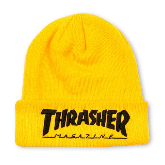 Thrasher Magazine Shop - Embroidered Logo Beanie Yellow Black 3541fed187c