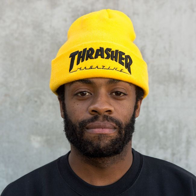 83d2f0fb210fc8 Thrasher Magazine Shop - Embroidered Logo Beanie Yellow/Black