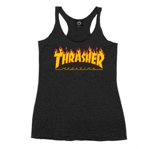 27a191f42480 Girls Flame Logo Racerback Tank (Black)